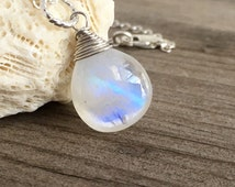 Moonstone Pendant, Hand Wired Wrapped, Argentium Sterling Silver, White Moonstone Necklace, June Birthstone, Gift Under 35