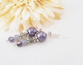 Lilac Pearl Earrings, Bridal, Long Dangle, Purple Crystal Earrings, Gray and Lavender, Clip On Earrings, Beaded Jewelry, Statement Earrings