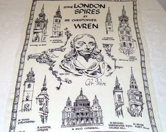 London Spires by Sir Christopher Wren Vintage Irish Linen Towel