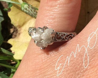 Art Deco-Snow white-Raw Rough Diamond -Heart shaped- Solitaire- promise-alternative engagement ring