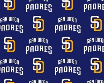 MLB San Diego Padres baseball team Blue/Gold  cotton fabric from Fabric Traditions - BTY