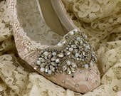 Twinkle Toes . Blush Wedding Shoes . Champagne Vintage Lace Wedding Shoes ..Lace Bridal Shoes .. Crystals and Pearls ..  mid-heel pumps ..