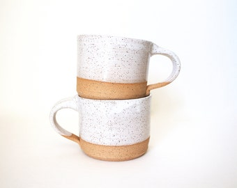 Pottery Tea Cup in Speckled White by RiverStone Pottery