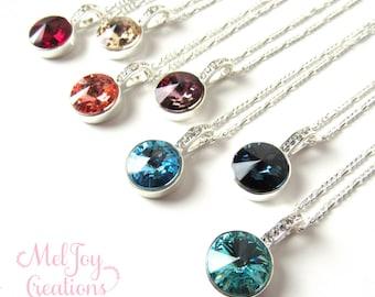 Crystal Necklaces, CHOOSE COLOR, Crystal Bridesmaid Necklaces, Sterling Silver Necklace, Swarovski Crystal, Crystal Drop Necklace