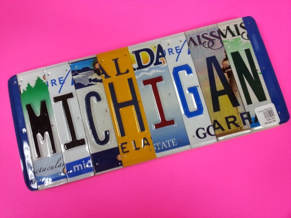 MICHIGAN License Plate Letter Sign