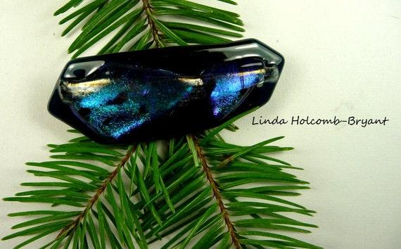 SALE Dichroic Fused Glass Barrette of Dark Aqua 3 inches in width 1 1/2 inch clasp