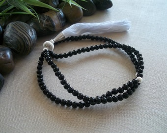 Prayer Beads Tibetan Mala Tassel Necklace Black Jasper Budddhist Mala Tassle Jewelry Meditation Beads Yoga Jewelry Buddhist Prayer Necklace