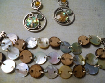 Abalone Button Bracelet and Hoop Earrings ~ Beautiful Married Pair of Silver and Mother-of-Pearl