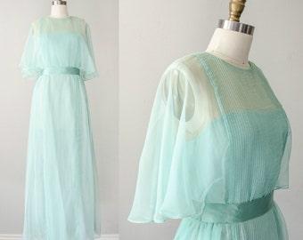 1970s vintage dress / vintage Victor Costa sea foam green chiffon maxi dress / size 6 / medium