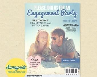 MAGAZINE Engagement Invitation - Printable Wedding Engagement Party Invite