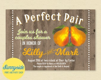 Perfect Pair Pear Couples Shower Invitation, Vintage Fruit Crate Bridal Wedding Invite