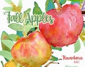 Fall Apples, 3 Watercolor handpainted clipart, 2 Wreaths, 1 Bouquet, Apples, Halloween,Autumn,Thanksgiving Clipart, invitation, fall clipart