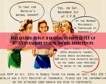 Custom 1950s Housewife Themed Bridal Shower Invitations PDF to Print Your Own - 1950s Bridal Shower Invites