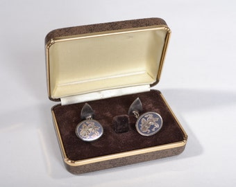 Vintage 1960s Sterling Nielloware Cufflinks - Sterling Silver Chain- Grooms Gift Fashions