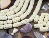 Lattice Window : Large Hole Cream Handmade Carved Bone Tube Beads, 20x10mm, Bohemian Tribal Yoga Mala Jewelry Making Supply, Boho, 11 pcs