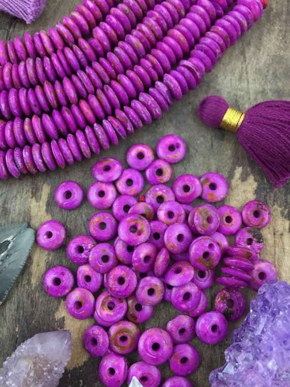 Orchid Purple Rondelle Thin Disc Bone Washer Beads 9x2