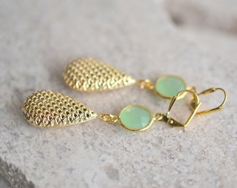 Mint and Gold Honeycomb Drop Earrings. Puffy Teardrop Mint Jewel Dangle Earrings. Dangle Earrings. Gift.