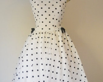 50s Dress with Velvet Polka Dot and Bows