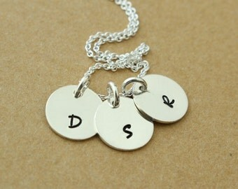 Three Initial Hand Stamped Sterling Silver Disc Necklace- Mom Grandmother Sister Family