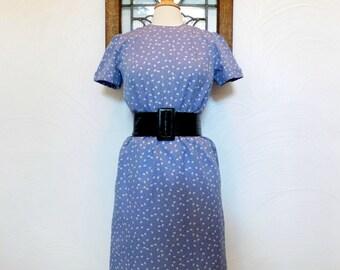 1970s Periwinkle Blue Dress Vintage 70s Secretary Dress - M