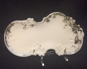 Victorian Milk Glass Dresser Tray