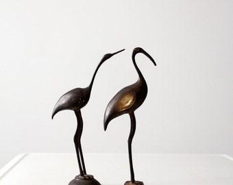 SALE mid-century brass bird pair, brass sculptures