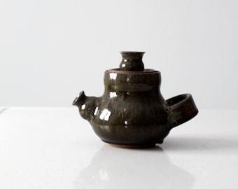 studio pottery tea pot circa 1976, artist signed ceramic teapot