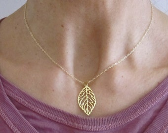 Skeleton LEAF yellow gold pendant with necklace chain, organic, woodland jewelry
