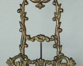 Very Ornate Solid Brass Plate Book Picture Stand