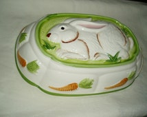Ceramic Rabbit Jello Mold, Wall Hanging, Easter