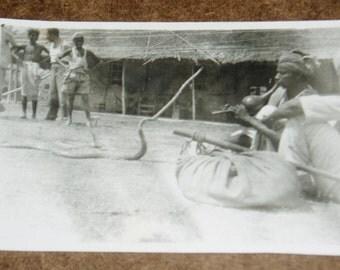 Vintage Photo, India Cobra Snake Charmer, 1940's
