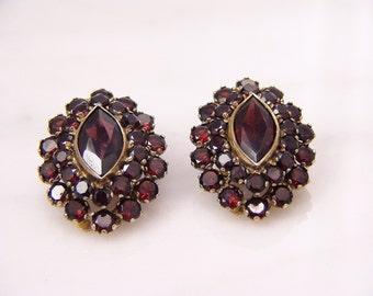 Victorian Bohemian Garnet Leaver Back Earrings