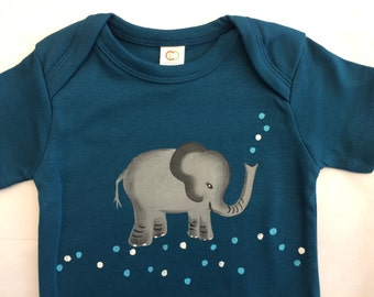 Baby Boy Blue Elephant Organic Cotton Hand Painted Baby/ baby shower Gift Safari Baby Clothes