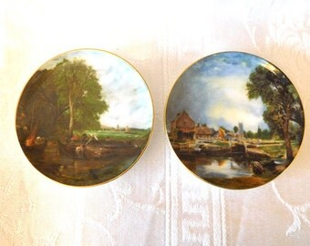 2 Coalport Mini Plates Vintage England Decor Bone China Collectible Bucolic Scenes Lovely Countryside
