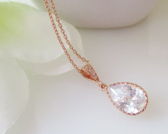 Bridal Necklace, Rose Gold Necklace, Cubic Zirconia Pendant Necklace, Bridesmaid Necklace, Rose Gold Bridal Jewelry,Wedding Necklace,LUXE
