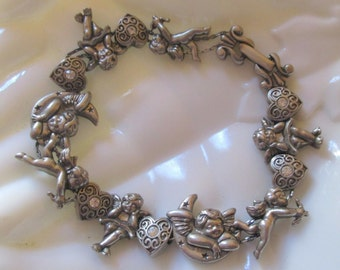Vintage Art Nouveau Cupids & Hearts Double Chain Slide Charm Bracelet