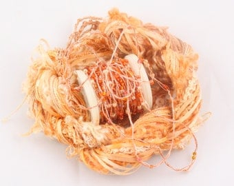 Burnt Orange Terra Cotta Beaded yarn Silk Embroidery thread Weaving Supplies Hand dyed Sewing quilting thread sequin thread Embellishments