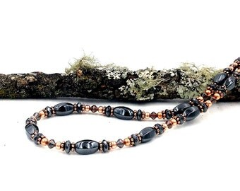 Necklace || Hematite Copper || Magnetic Therapy || Triple POWER Healing Beads || Free Gift Card and organza Bag