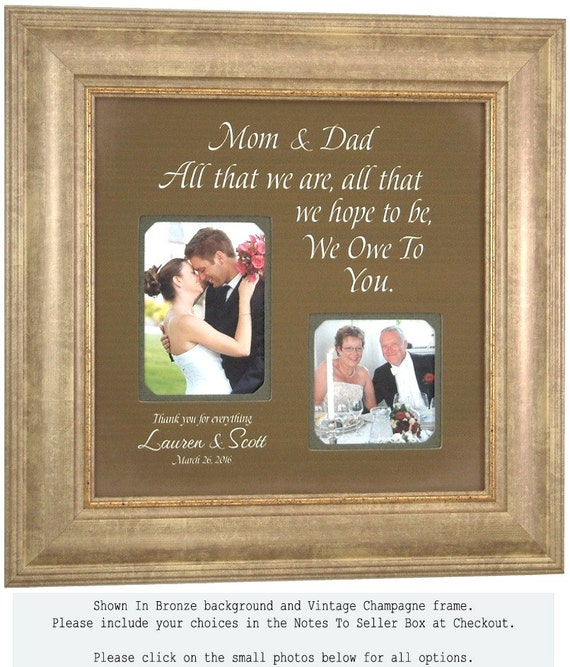 Wedding Framed Photo Mat, Personalized Wedding Sign, All That We Are, Reception, Bridal Shower, Personalized Parents Gift, 16 X 16