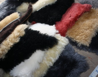 Odds & Ends 100% Genuine Merino sheepskin shearling pieces Blythe doll accessories Sew your own Pet Beds Quilt Squares scapbooking crafting