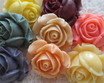 Resin Rose Cabochon - CHOICE OF COLOR - 26mm - 2 pcs