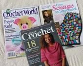 Destash Lot of 3 Crochet Magazine, Love of Crochet, Crochet World, From Scraps to Sensational Special Issue