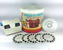 1970s GAF View Master Disney Favorites Gift Pak Box & Lid with 5 Reels Disneyland ViewMaster View-Master VINTAGE Red White