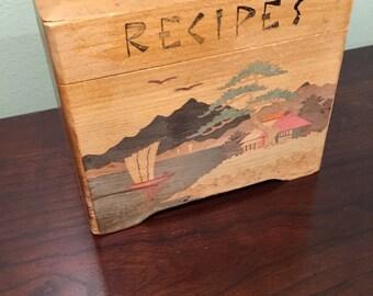 Mid Century Nevco Japan Wooden Recipe Box with Boat Scene