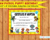 Paw Patrol Puppy Birthday printable Adoption certificate! Instant download! Includes adopt a puppy sign!