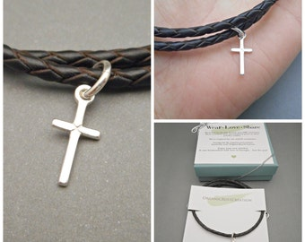 Sterling Silver Cross Necklace - Mens Jewelry - Leather Cord Jewelry - Braided Leather - Cross Pendant - Anniversary Gift - Gifts for Men