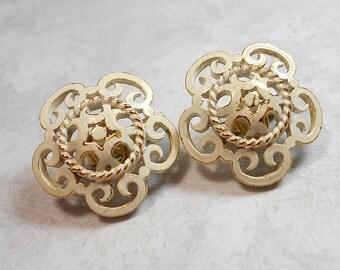 Vintage Filigree Earrings White Enameled Clip on Gold Tone Crown Trifari Womens Mid Century Jewelry