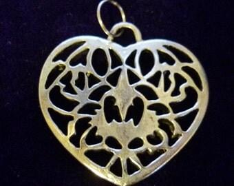 Cut out Silver Heart Pendant-Vintage Silver Heart Pendant