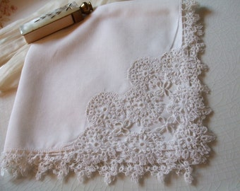 Handkerchief Tatting Linen Hanky Bridal Wedding June Bride