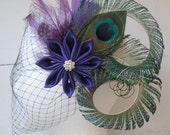 Purple Wedding Peacock Fascinator, Royal Purple Kanzashi Hair Flower, Plum Purple Feather Bridal Head Piece, Birdcage Veil, Vintage Bride